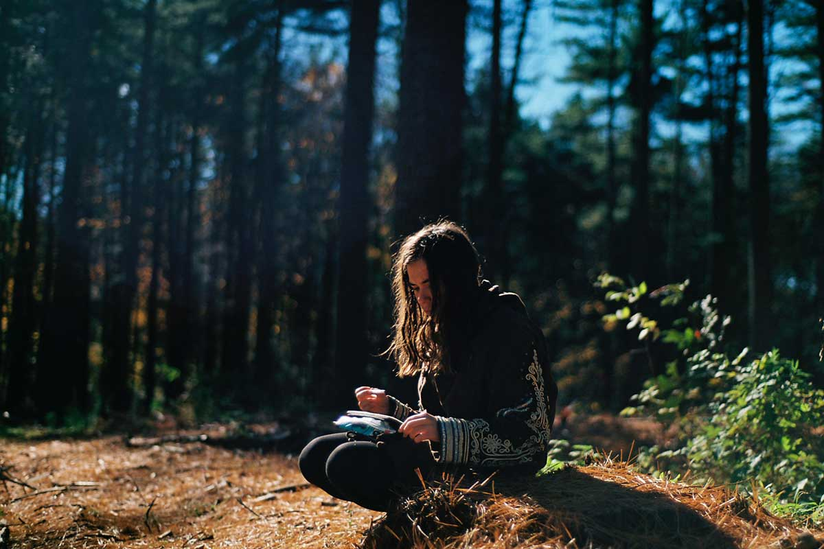 Writer in the woods